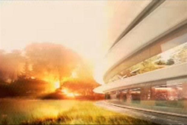 Una de las imágenes que presentó Steve Jobs sobre el proyecto de la futura sede de AppleFoto: lanacion.com