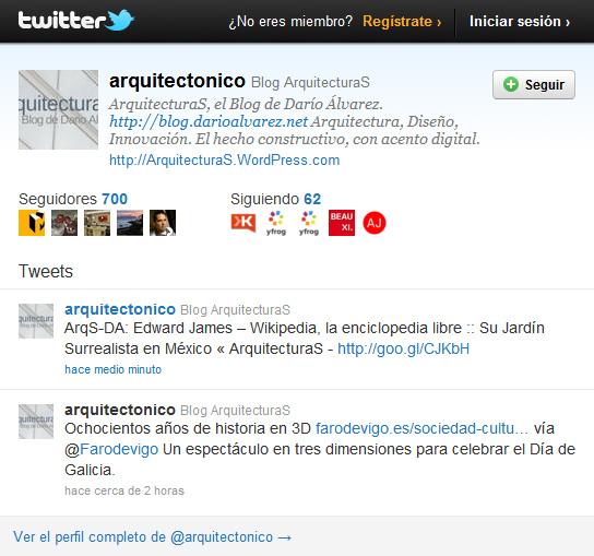 @arquitectonico ya cuenta con 700 seguidores (followers) en Twitter