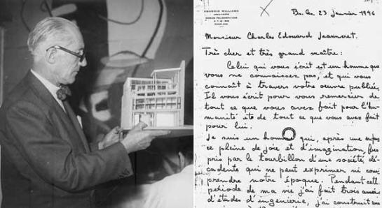 Le Corbusier en su estudio de la Rue de Sevres, en París, con la maqueta de la Casa Curutchet en abril de 1949. A la derecha, facsímil de la carta de presentación enviada por Amancio Willliams al arquitecto suizo-francés