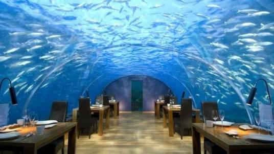IMPRESIONANTE. El restaurante del hotel subacuático.
