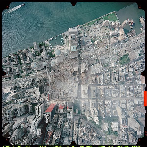 Aerial view of the World Trade Center site, September 23, 2001. Wikipedia