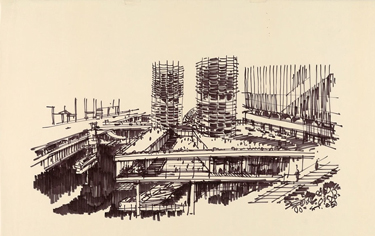 Bertrand Goldberg´s sketch - www.canadianarchitect.com