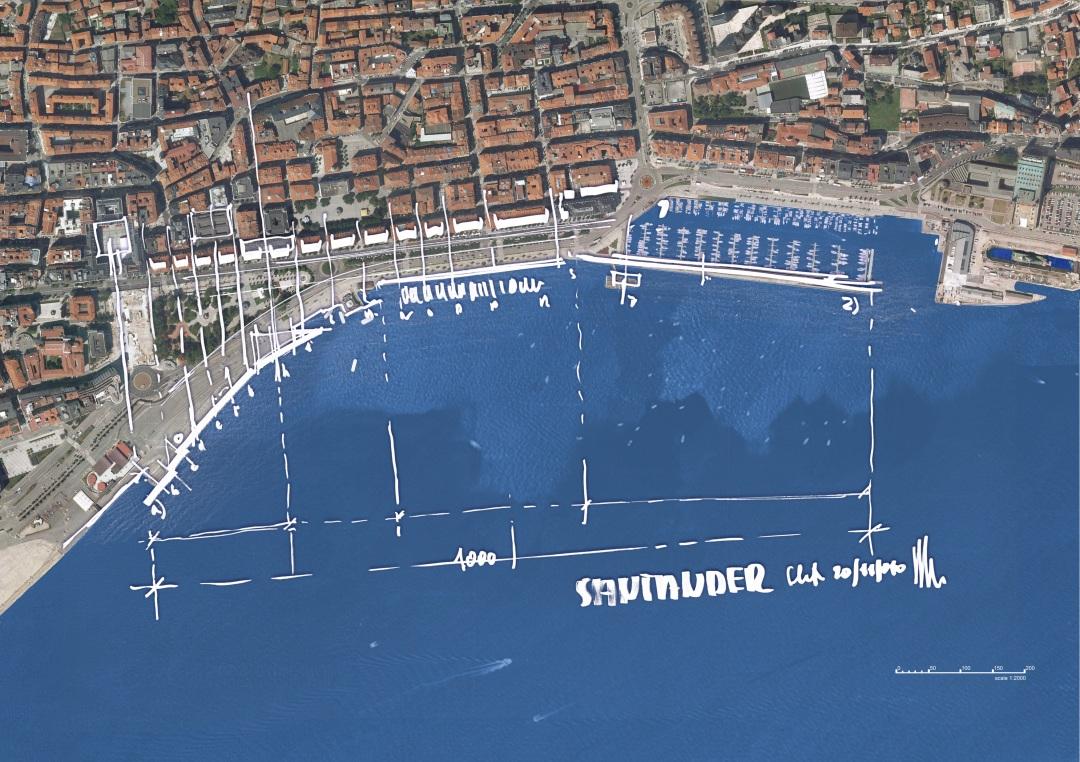 Boceto de Renzo Piano sobre la implantación del futuro Centro de Arte Botín en el frente marítimo santanderino - Fundación Botín