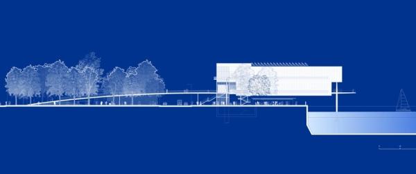 Un diseño que muestra cómo el Centro de Arte Botín no superará la altura de los árboles.- FUNDACIÓN BOTÍN - ElPais.es