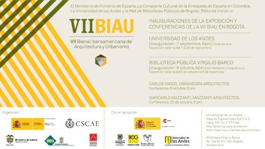 Inauguración de la exposición VII BIAU  -  tendrá lugar hoy miercoles día 7 de septiembre en  la Universidad de Los Andes