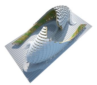 """La instalación """"Fluidity"""" mostrará las principales innovaciones del sector español para la arquitectura.  www.ascer.es"""