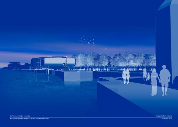 Perspectiva del Centro Botín desde el Palacete - Renzo Piano Building Workshop (Imagen Cortesía Fundación Botín)