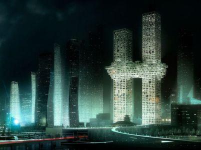 De noche. La nube se recorta contra el perfil urbano de Seúl (Gentileza MVRDV). Arquitectura Clarín.com