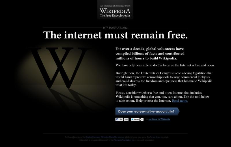 Aspecto que presenta, hoy 18 de enero, la página web de Wikipedia en inglés - ABC.es