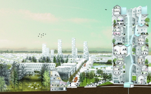 Rendering of Nature-City, Salem-Keizer, Oregon. 2011. Courtesy WORKac - Web del MoMA