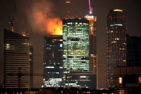 Imagen del edificio en llamas en la capital rusa. | Afp - ElMundo.es