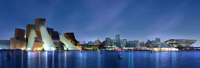 The new Guggenheim Abu Dhabi will be located in the Cultural District of Saadiyat Island