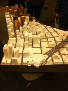 A model of downtown Seattle with the three proposed Amazon.com office towers in brown - GeekWire
