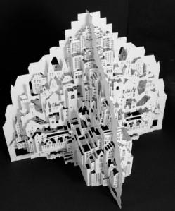 'Big City' Siliakus incluye edificios de Amsterdam en  esta obra de dos partes que se encajan a la perfección formando cuatro caras de la ciudad (Ingrid Siliakus) 20minutos.es