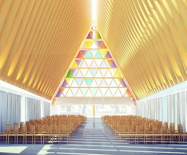 "(Photo: http://www.christchurchcathedr) Designs for the ""cardboard cathedral"" in Christchurch, New Zealand."
