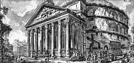 El Panteón de Agripa de Roma, en un grabado de Piranesi. - Wikipedia