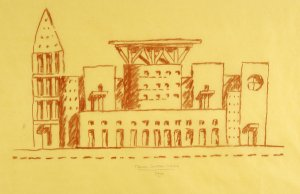 A freehand sketch of the south facade of the Denver Central Library, which the writer designed. Michael Graves & Associates - NYTimes.com