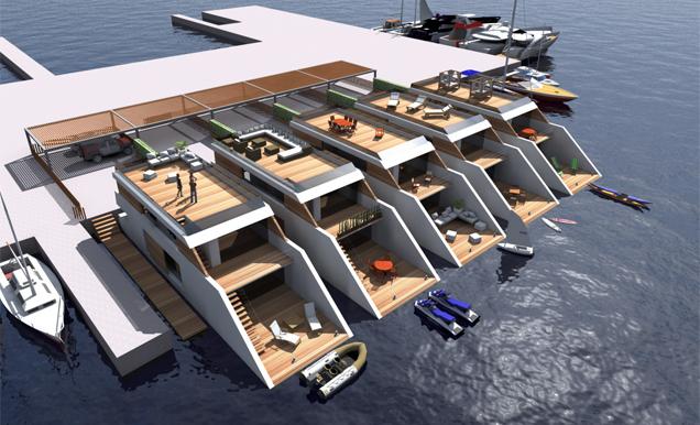 Recreación virtual de las viviendas flotantes del grupo Boxx. Nauta 360 - ElMundo.es