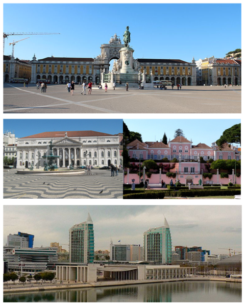 From top to right: Praça do Comércio; Teatro Nacional D. Maria II; Belém Palace; Parque das Nações - Wikipedia
