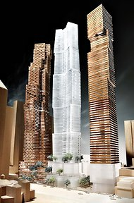 A rendering of Frank Gehry's residential towers planned for Toronto. Gehry International, Inc.