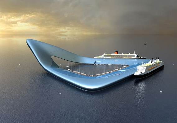 Floating Cruise Ship Terminal, illustration courtesy Koen Olthuis and Dutch Docklands for National Geographic - Web de Waterstudio.nl