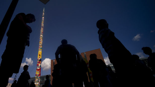 Building Lego towers is a competitive business - this one in Prague, at 32.5m, may be the tallest to date - BBC News