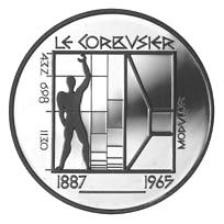 Moneda conmemorativa donde aparece el Modulor de Le Corbusier - Swiss Commemorative Coin, 1987 / Wikipedia