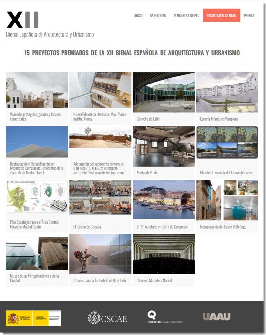 15 PROYECTOS PREMIADOS DE LA XII BIENAL ESPAÑOLA DE ARQUITECTURA Y URBANISMO