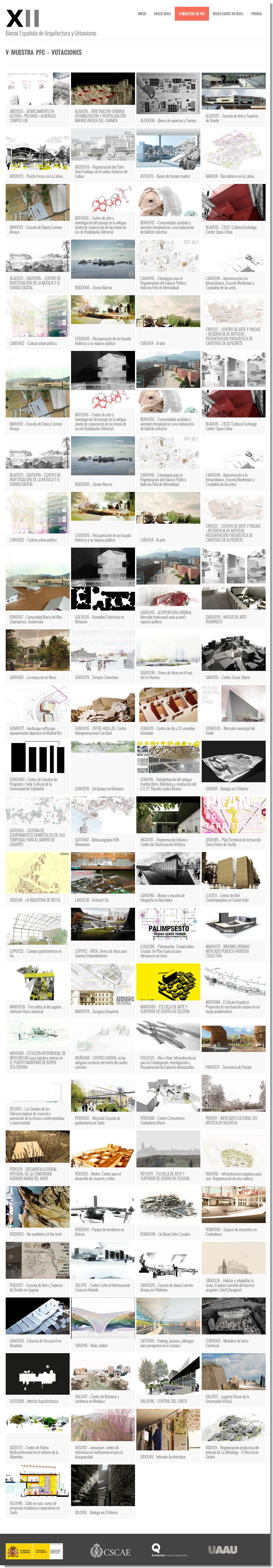 Proyectos Presentados - XII Bienal Española de Arquitectura y Urbanismo