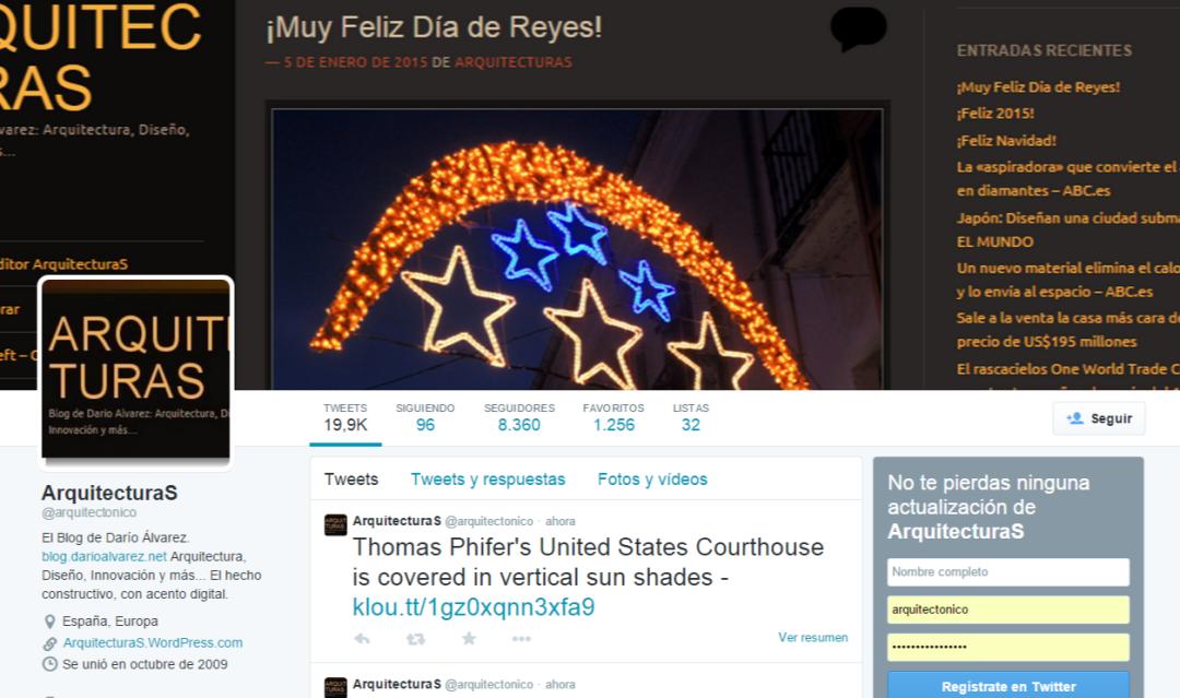 ArquitecturaS cuenta en este momento con 8.360 en su cuenta de Twitter @arquitectonico