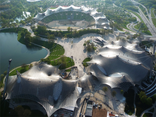 Roofing for main sports facilities in the Munich Olympic Park for the 1972 Summer Olympics, 1968–1972 Munich, Germany  Photo © Atelier Frei Otto Warmbronn