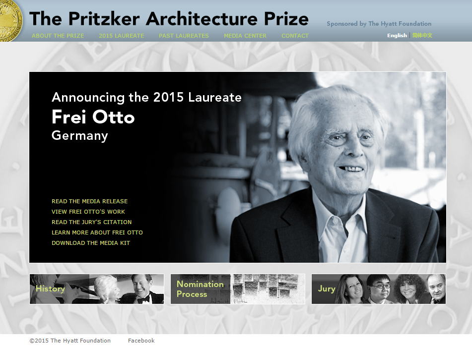 Frei Otto Receives the 2015 Pritzker Architecture Prize