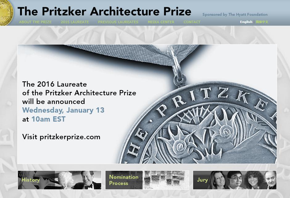Anuncio oficial fecha nuevo ganador Premio Pritzker de Arquitectura (2016) vía www.pritzkerprize.com