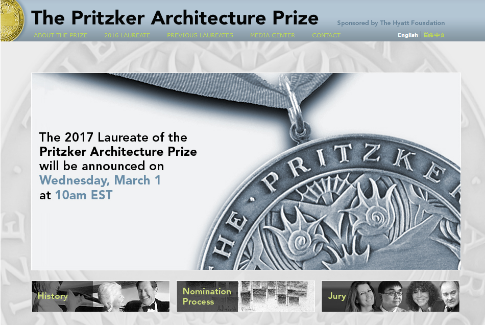 2017 Pritzker Prize To Be Announced March 1st | ArchDaily – Premio Pritzker de Arquitectura 2017