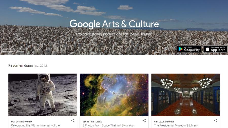 Google Arts & Culture incluye contenido de más de 1200 museos y archivos destacados ... (disponible Google Play y App Store)