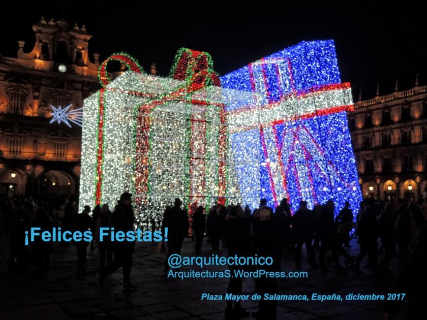 ¡Felices Fiestas! @arquitectonico ArquitecturaS.WordPress.com    Luces en la Plaza Mayor de Salamanca, España,  diciembre, 2017 - Fotografía Darío Álvarez